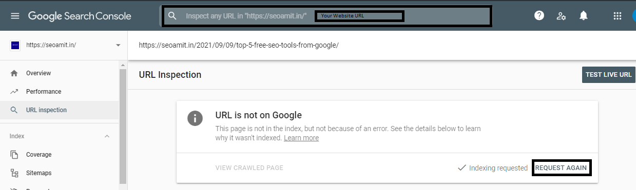 This image show how you can run Live test URL after sending indexing request.