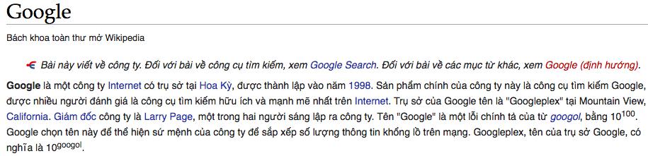 Liên kết nội bộ Google Wikipedia