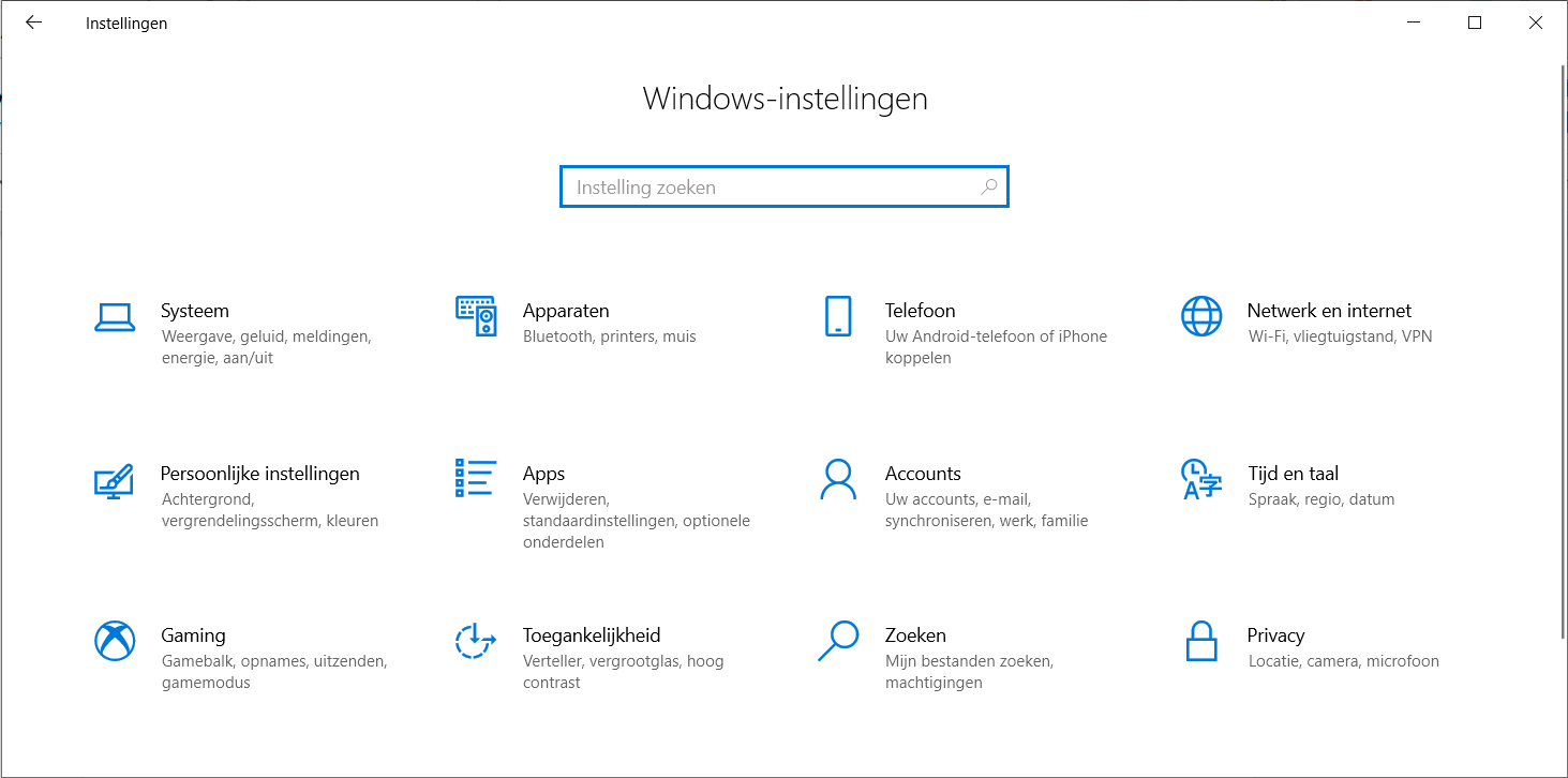 Instellingen op Windows 10