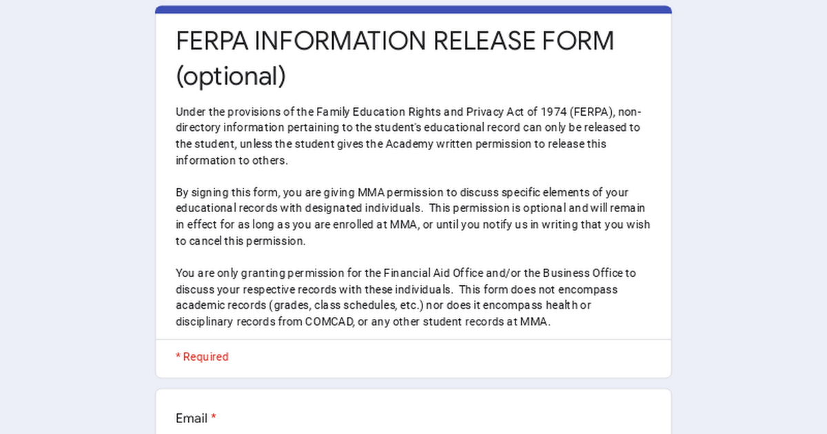 FERPA INFORMATION RELEASE FORM optional – Privacy Act Release Form