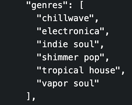 Screenshot of JSON response from Spotify API call, content duplicated in surrounding text.