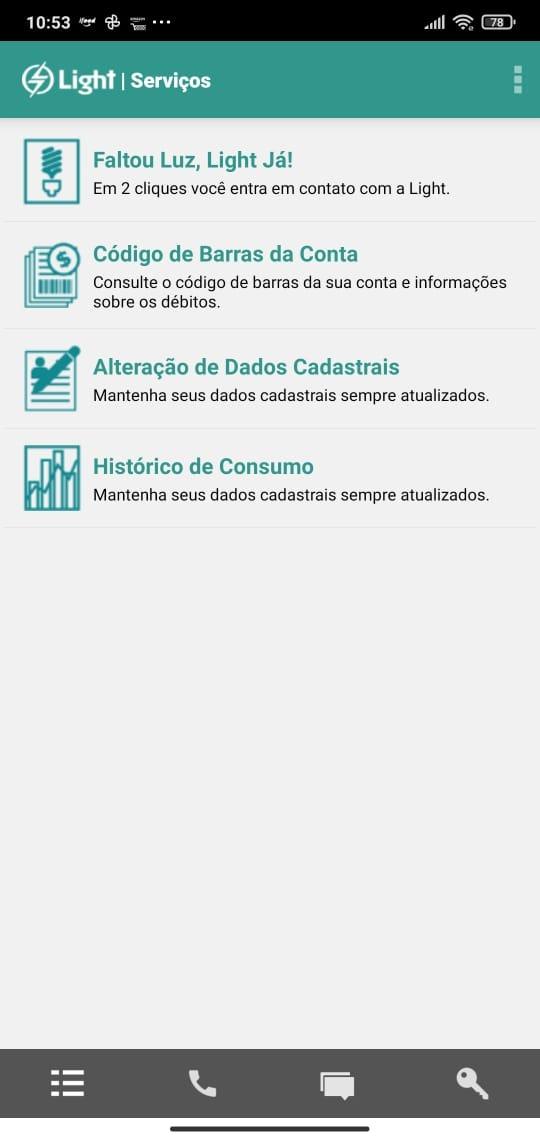 solicitar serviços pelo app light clientes