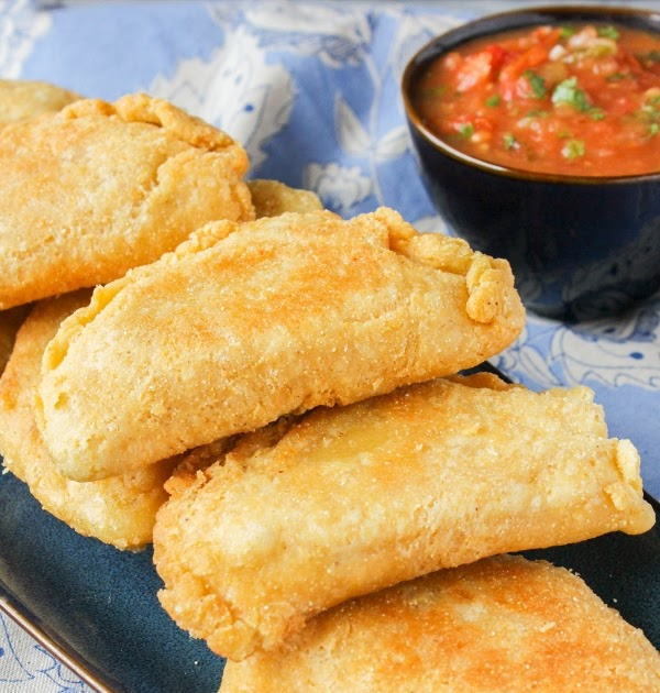 Chicken and Corn Empanadas with Roasted Red Salsa