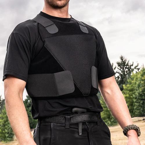Man wearing Spartan Armor Certified Wraparound Concealable IIIA Black Vest