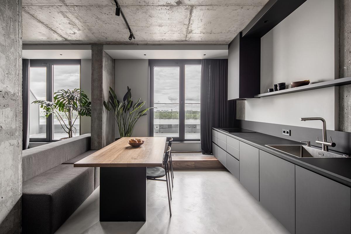 Кухня виконана у матовому чорному кольорі
