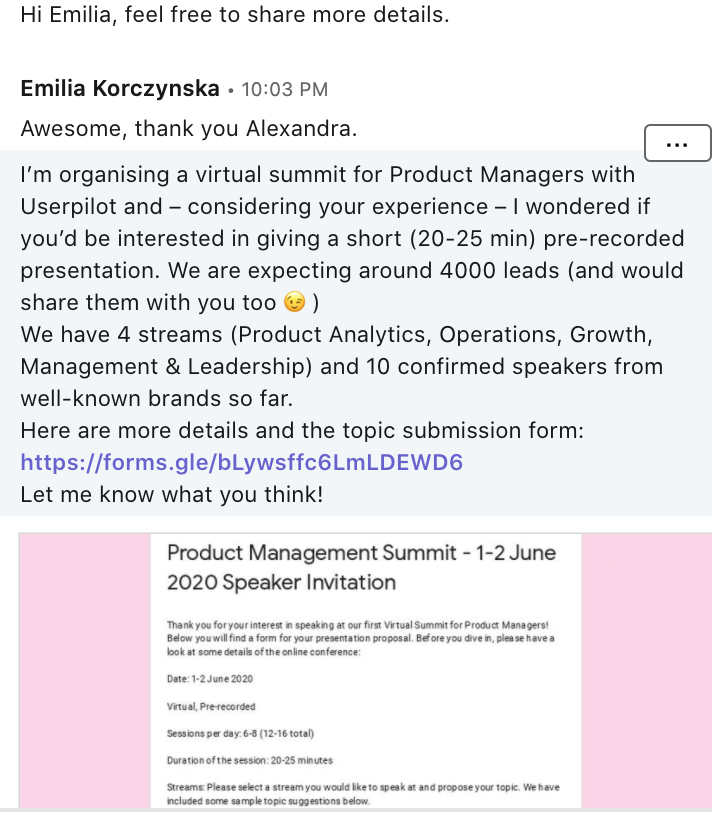 Emilia message to the speakers