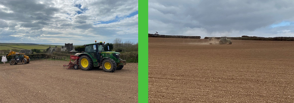 Drilling the crops at Pickwell Barton Farm, North Devon.