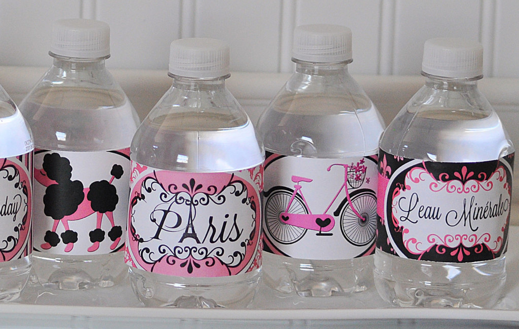 Paris damask labels on water bottles