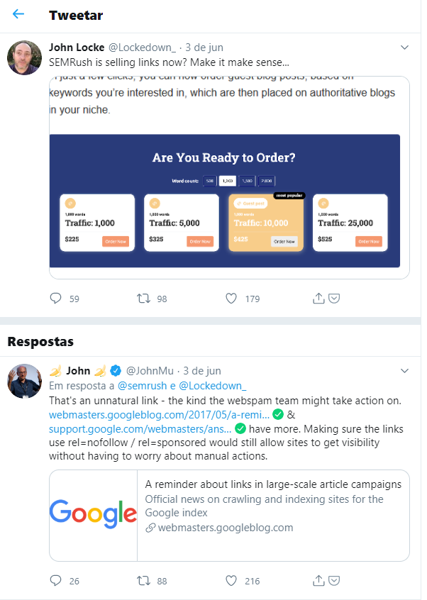 resposta de John Mueller ao tweet de John Locke (@Lockedown_) sobre o novo serviço da SEMrush de venda de links