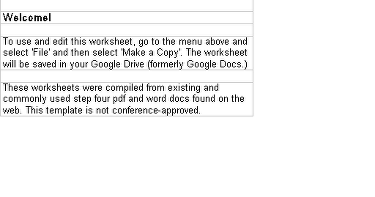 Printable Worksheets resentments worksheets : AA Step Four Templates (Fourth Step, 4th Step) - Google Sheets