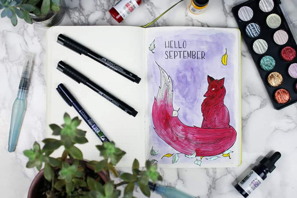 A watercolored fox September bullet journal welcome page