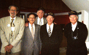 Bob on left with shipmates, 2011 Honor Flight to Washington, D.C.