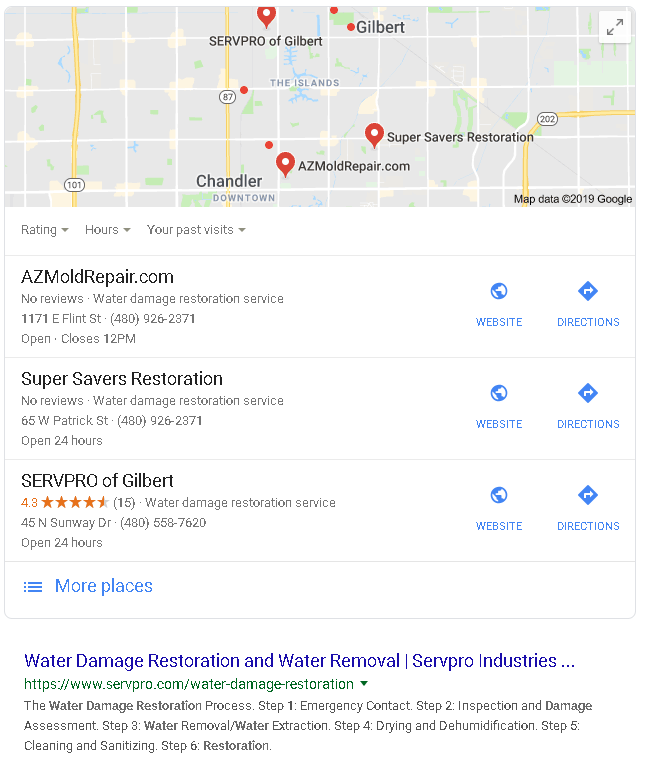 restoration service company has reviews on the Google maps listing. Several competitors do not. The eye is drawn to the gold stars, making this restoration companies reviews stand out.