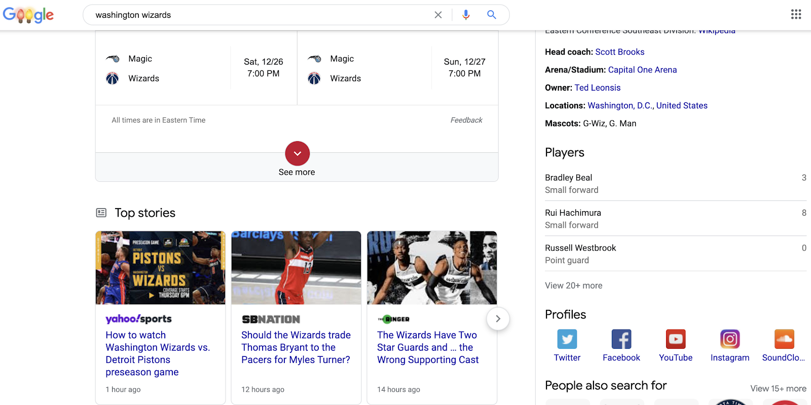 """SERP results for keyword """"washington wizards"""""""