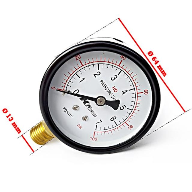 Khi mua đồng hồ đo áp suất, bạn cần chú ý tới kích thước mặt đồng hồ