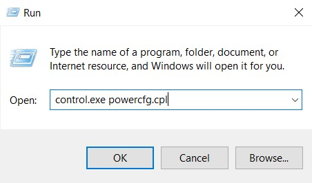 The Power Options command in Run tool