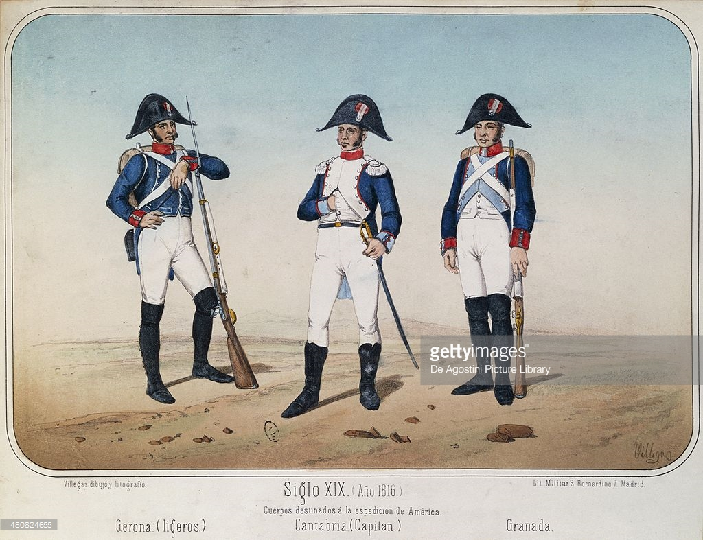 Militaria, Spain, 19th century. Uniforms of the Spanish infantry. Paris, Bibliothèque Des Arts Decoratifs
