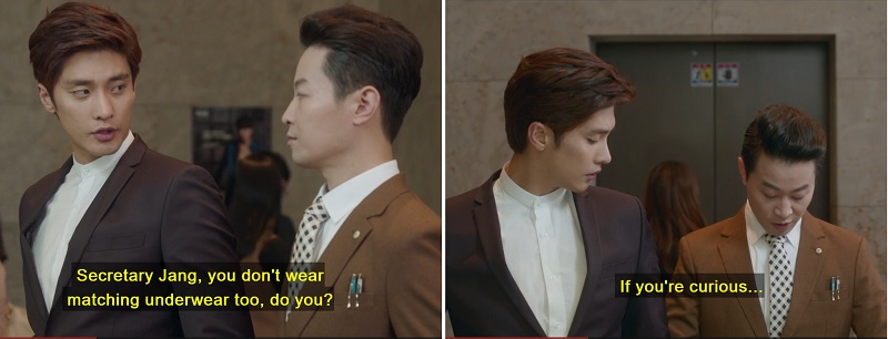 Firnlambe: Secretary Matchy-Match is the best. I love how he interacts with Jin Wook. They really do have an awesome bromance going on. Ugh, the Mother.