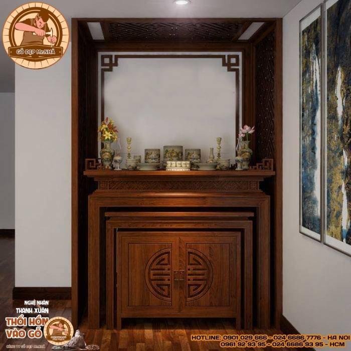 Mẫu bàn thờ đơn giản và hiện đại cho căn hộ