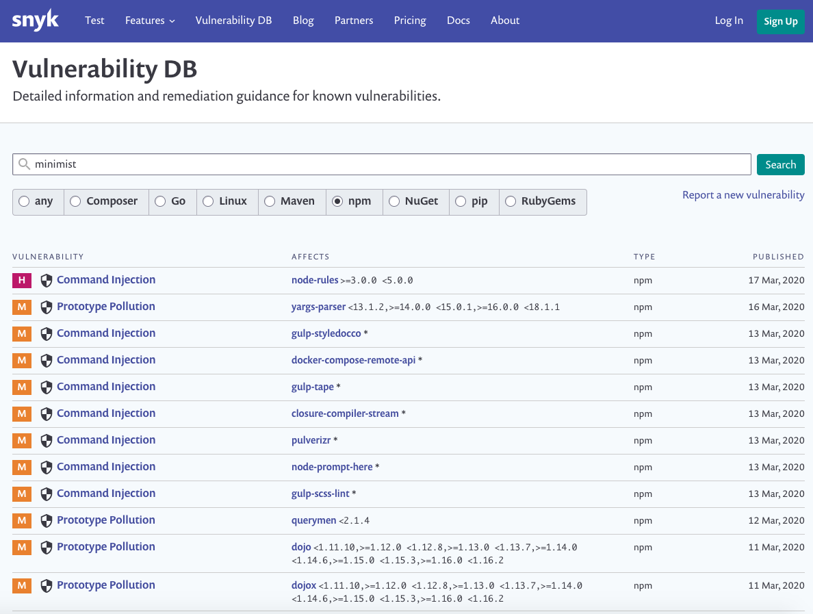 prototype pollution vulnerabilities discovered by Snyk's security research team: https://snyk.io/vuln?type=npm
