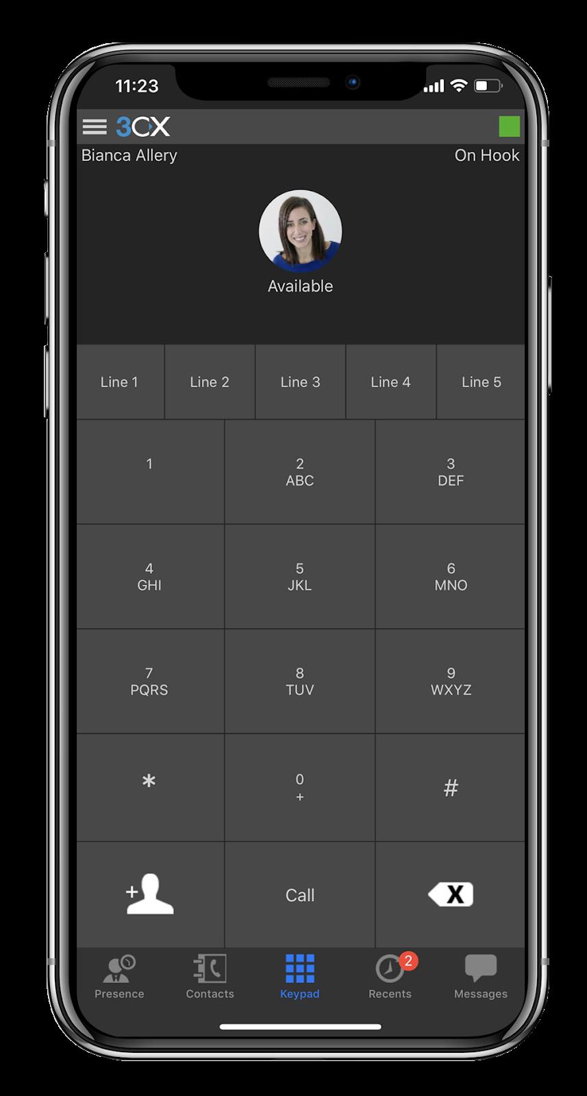 La App 3CX para iOS