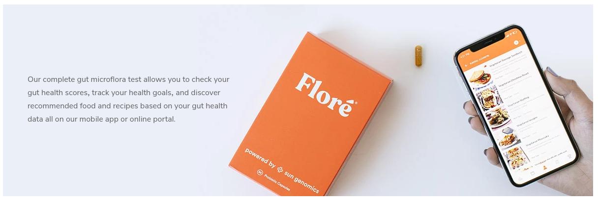 Embalagem Flore e aplicativo móvel