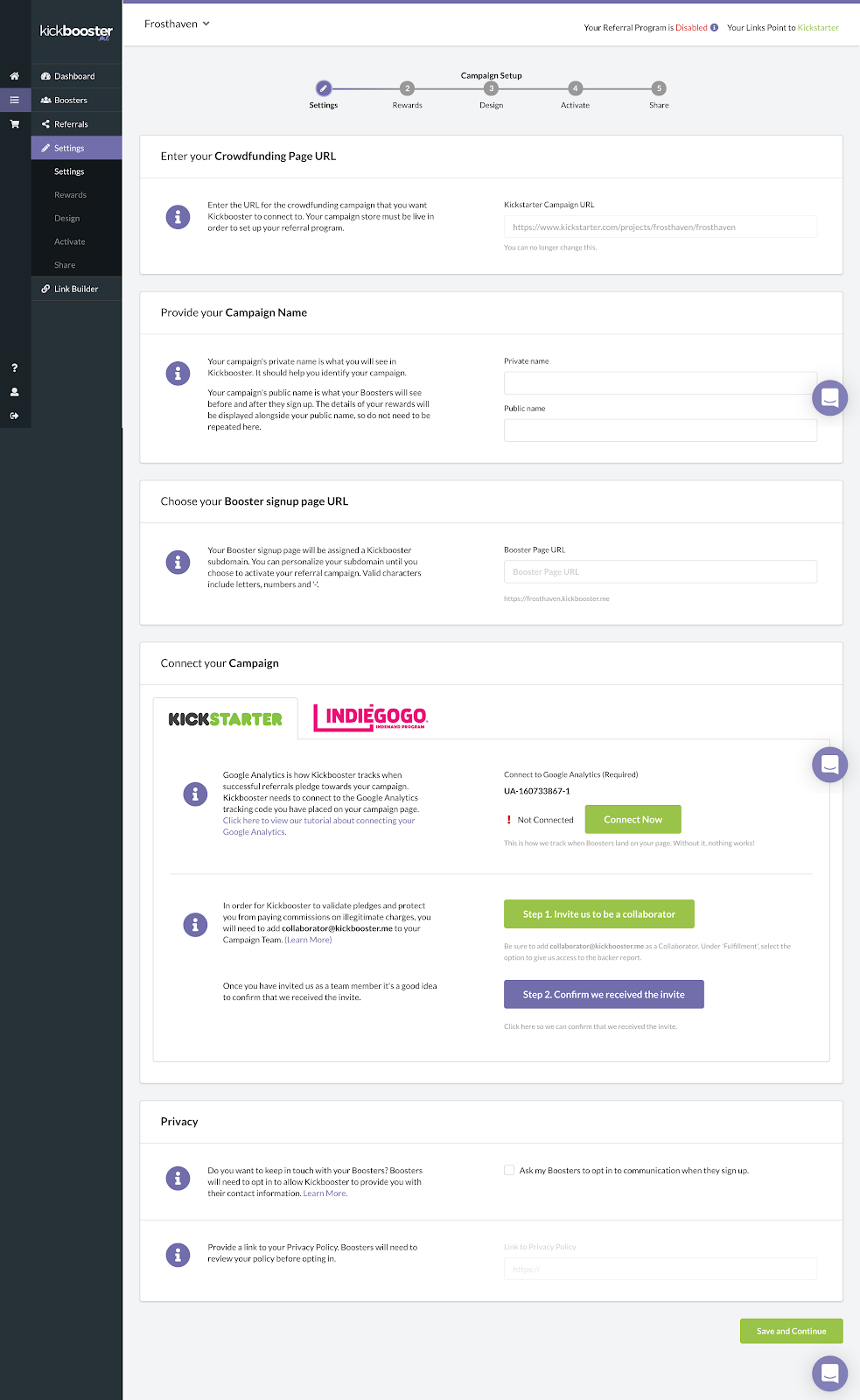 kickbooster review how to fill in your project