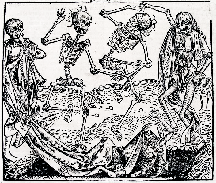 The dance of death, with skeletons dancing next to an open grave.