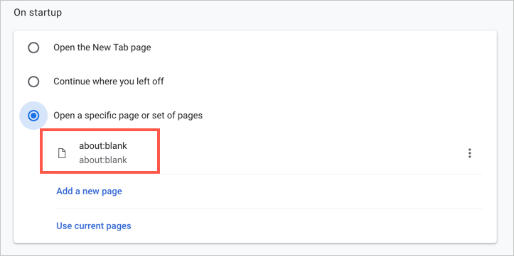 Set New Startup Page in Google Chrome