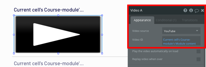 Displaying the video content of a Udemy course module