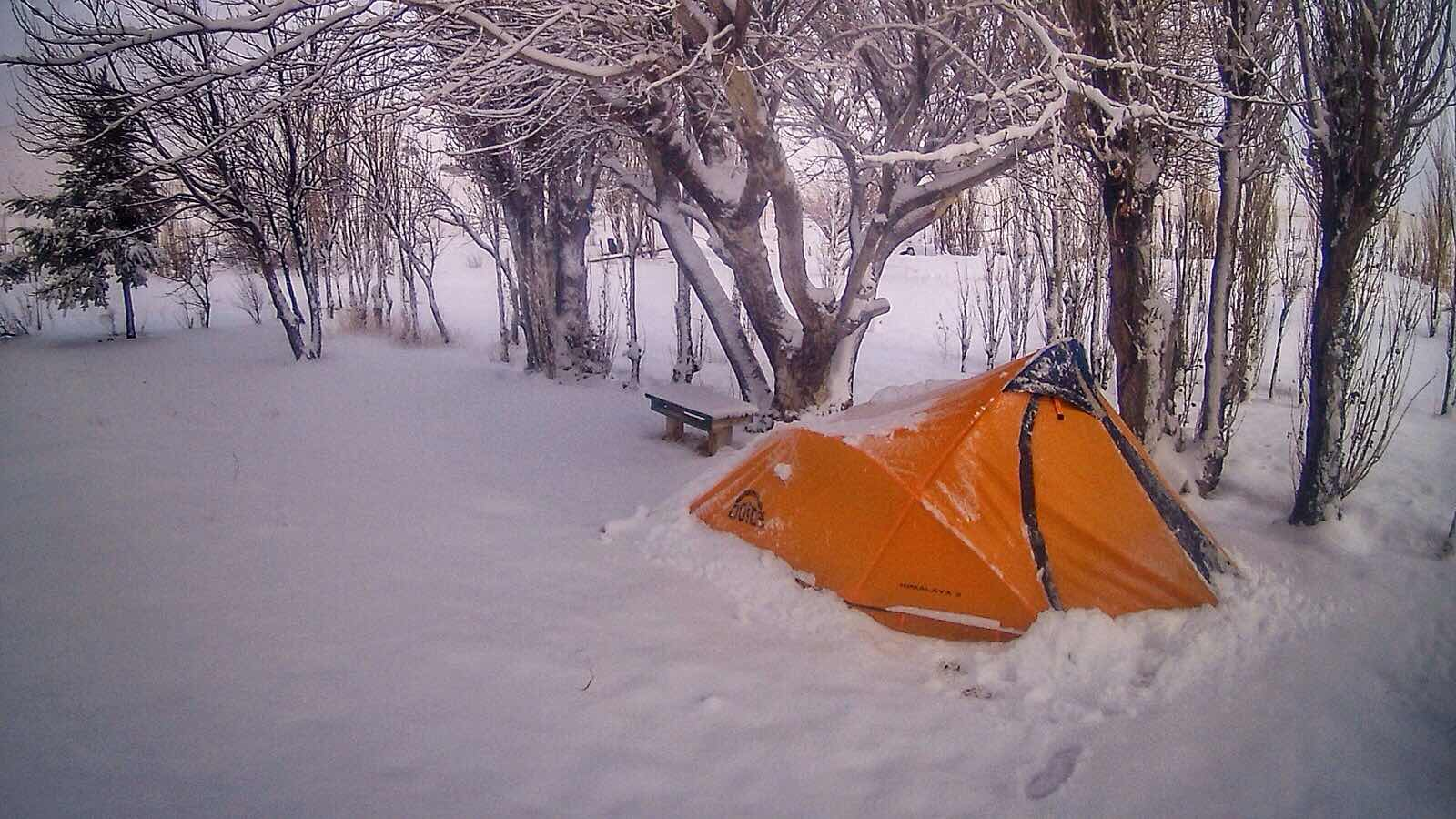 Snow camping in Patagonia Argentina