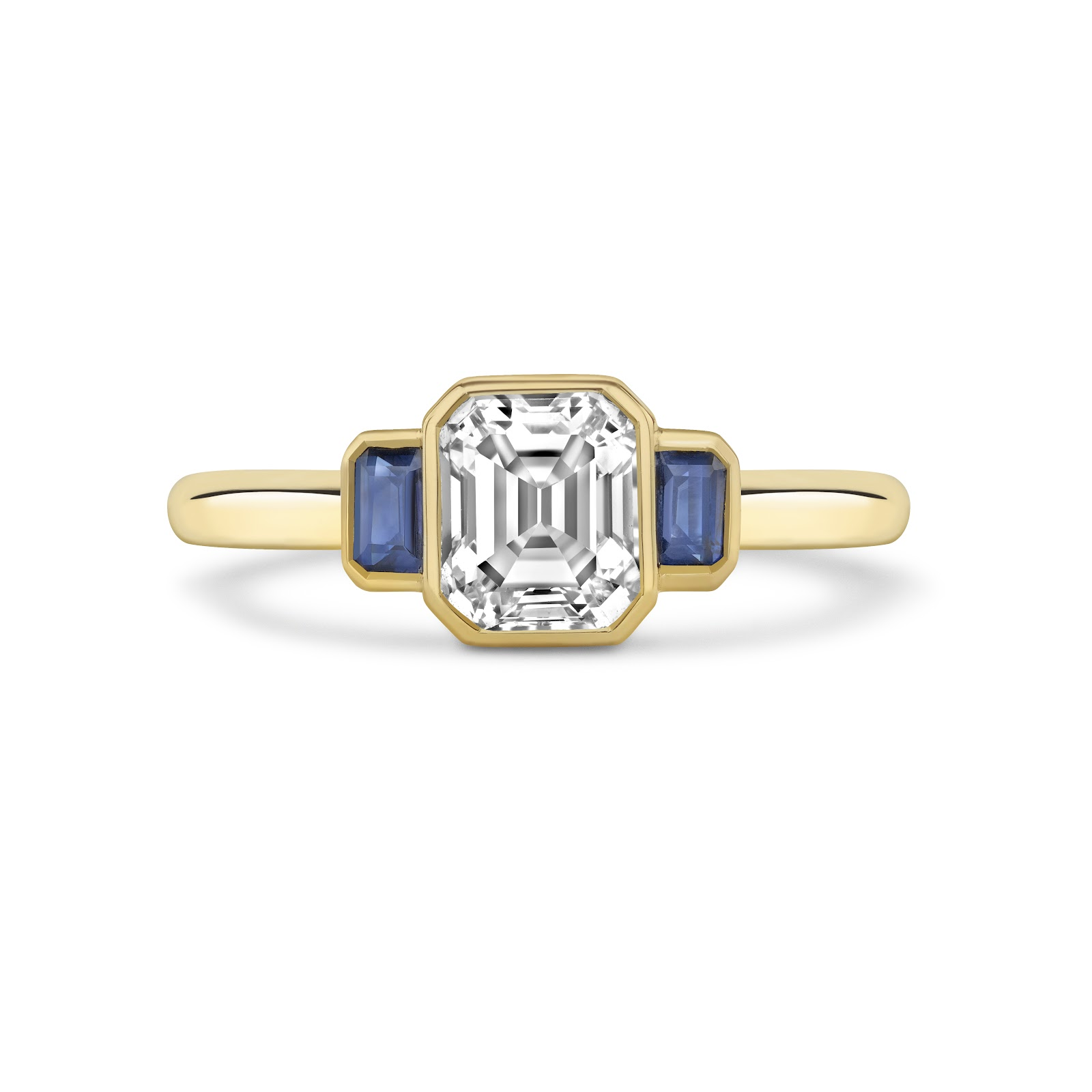 Art Deco Emerald Cut and Sapphire Ring