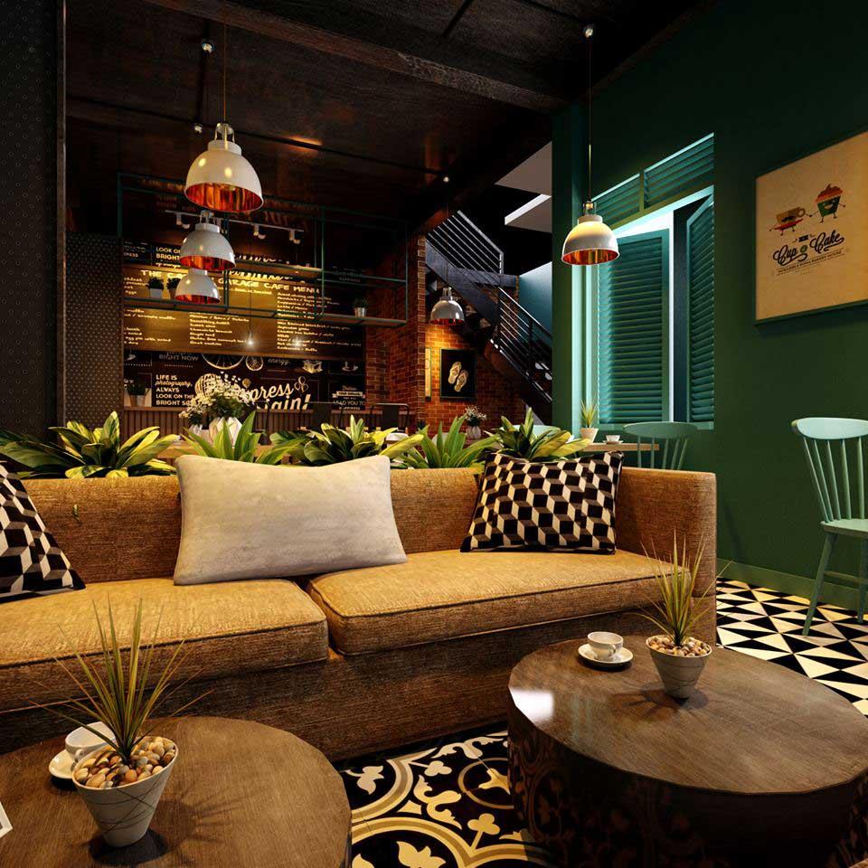 Sofa cafe màu nâu sáng