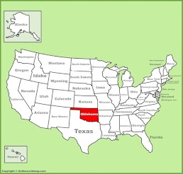 Map showing the location of the State of Oklahoma