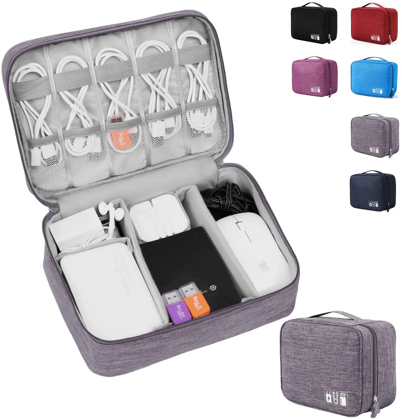 An open bag to organise electronics with various color options on the side.