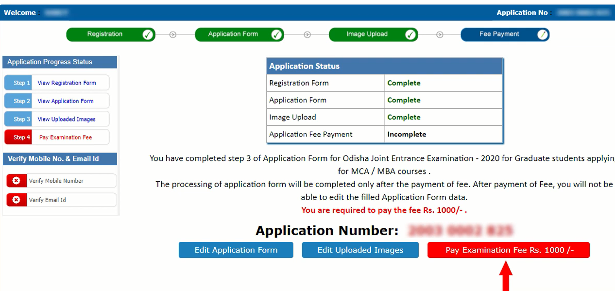 OJEE 2021 Application Form - Pay Fee