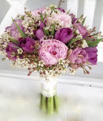 Phối hoa cưới màu hồng và màu tím