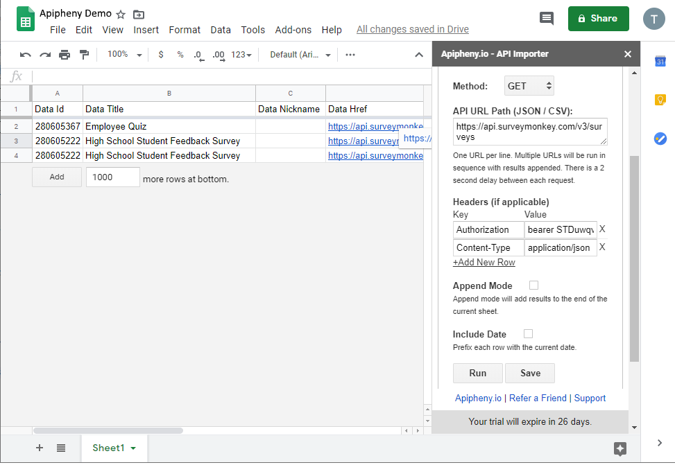 SurveyMonkey API in Google Sheets