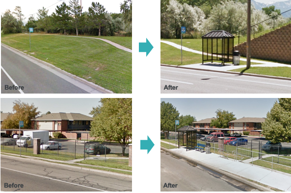 "Two sets of before-and-after images. Top: The ""before"" image shows a bus stop sign stuck in the grass along the side of a curb, not very close to a nearby sidewalk. The ""After"" image shows a paved extension of the sidewalk leading to a concrete pad with a bus shelter, bench and trash can in addition to the sign. Bottom: A very similar before-and-after, with the addition of a wheelchair ramp."
