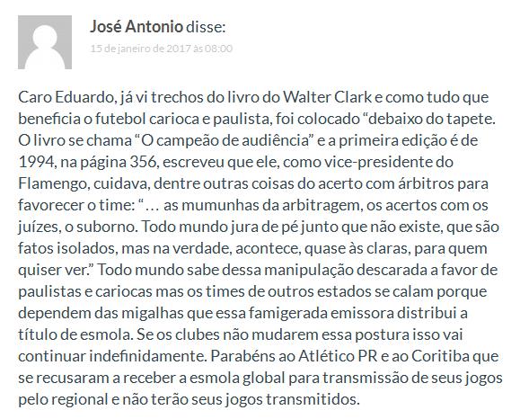 Comentário no Blog Canto do Galo