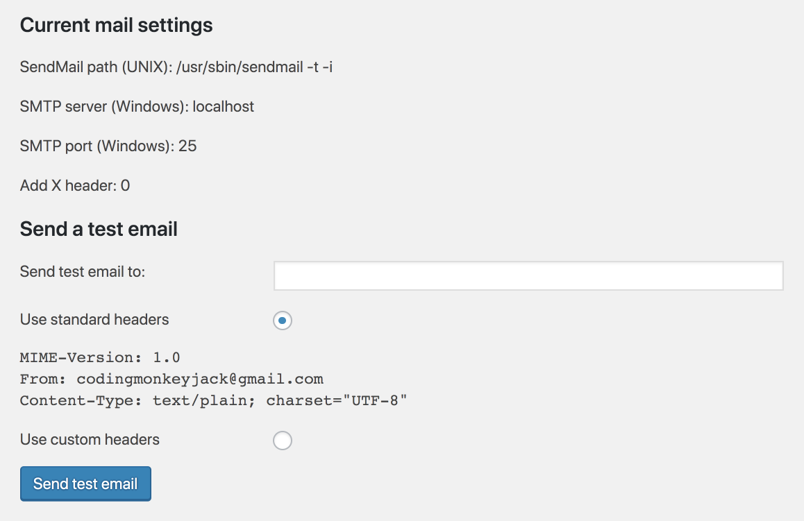 Screenshot of check email plugin settings