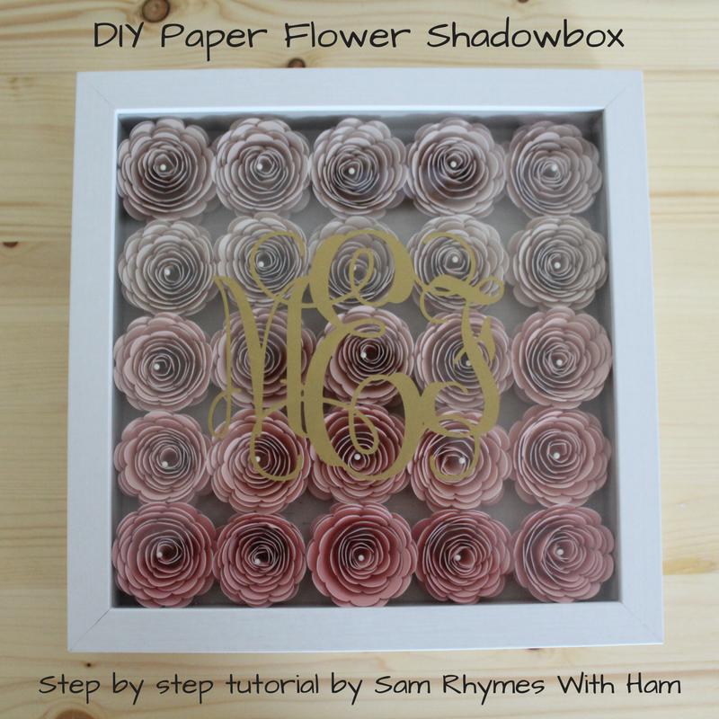 Diy Cricut Made Monogramed Paper Flower Shadowbox Tutorial Sam