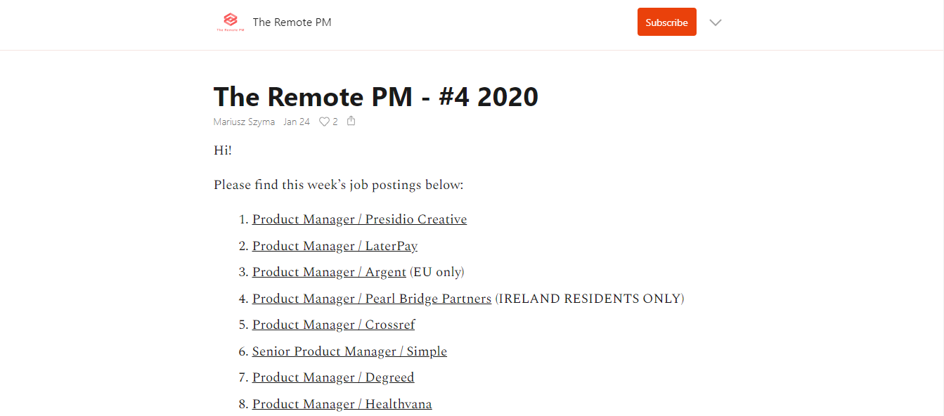 The Remote PM - Newsletter Preview