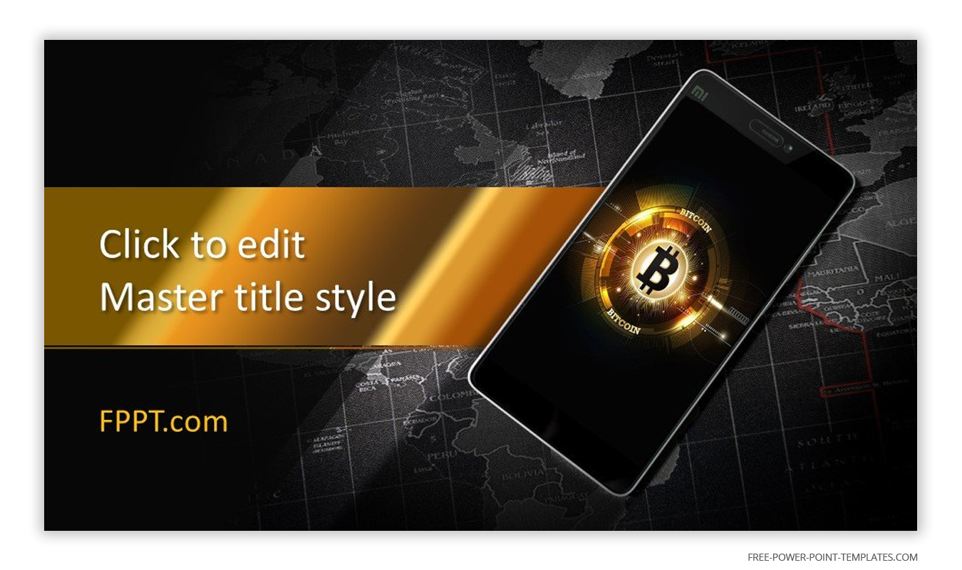 This introduction slide features the symbol of Bitcoin.