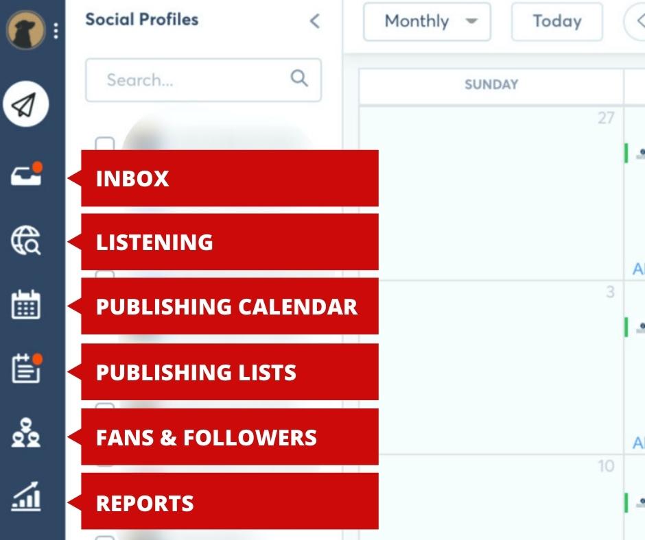 Screenshot of Agorapulse calendar side panel of options including Inbox, Listening, Publishing Calendar, Publishing Lists, Fan & Followers, and Reports.