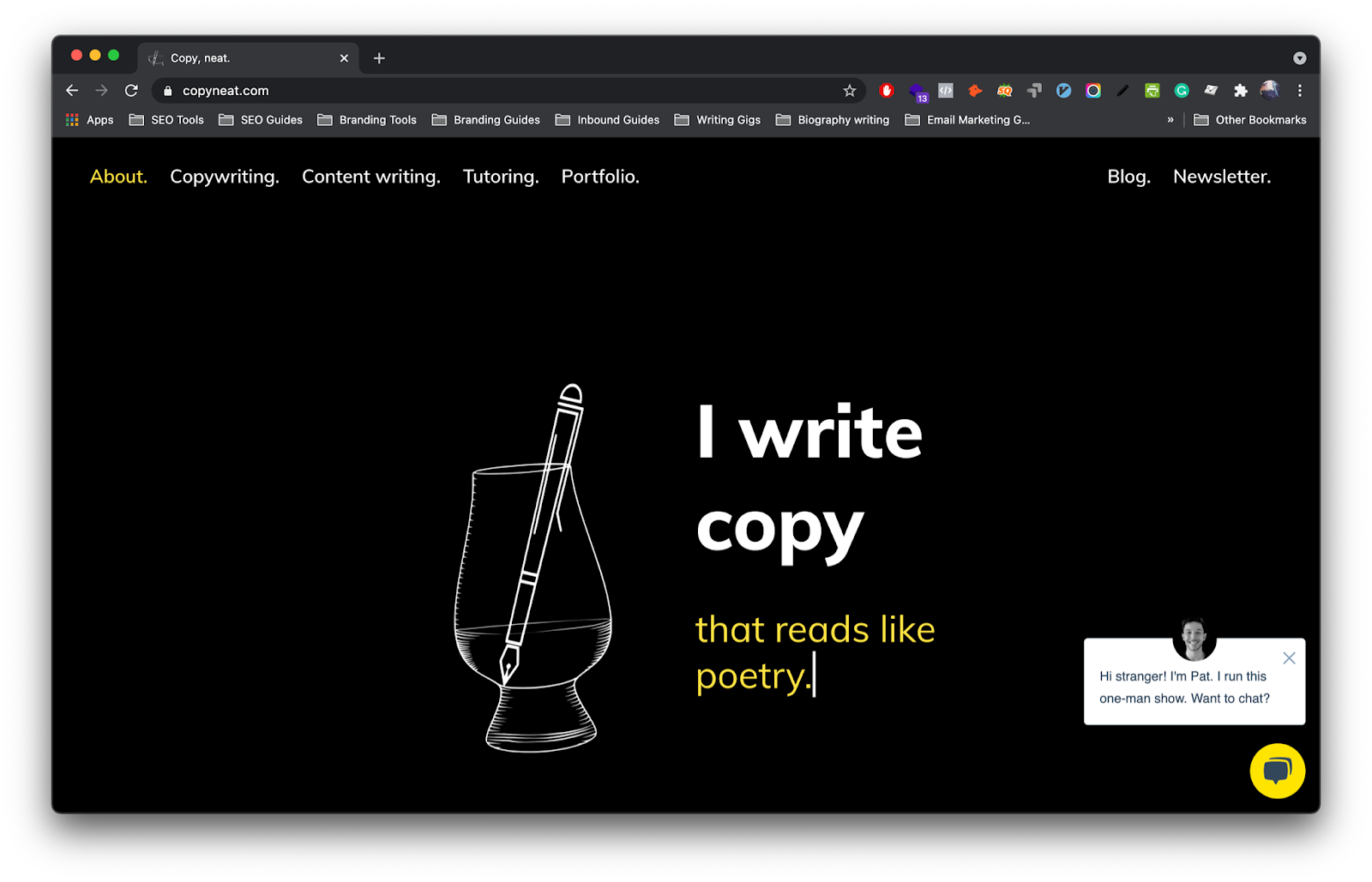 A screenshot of the homepage of my website, copyneat.com