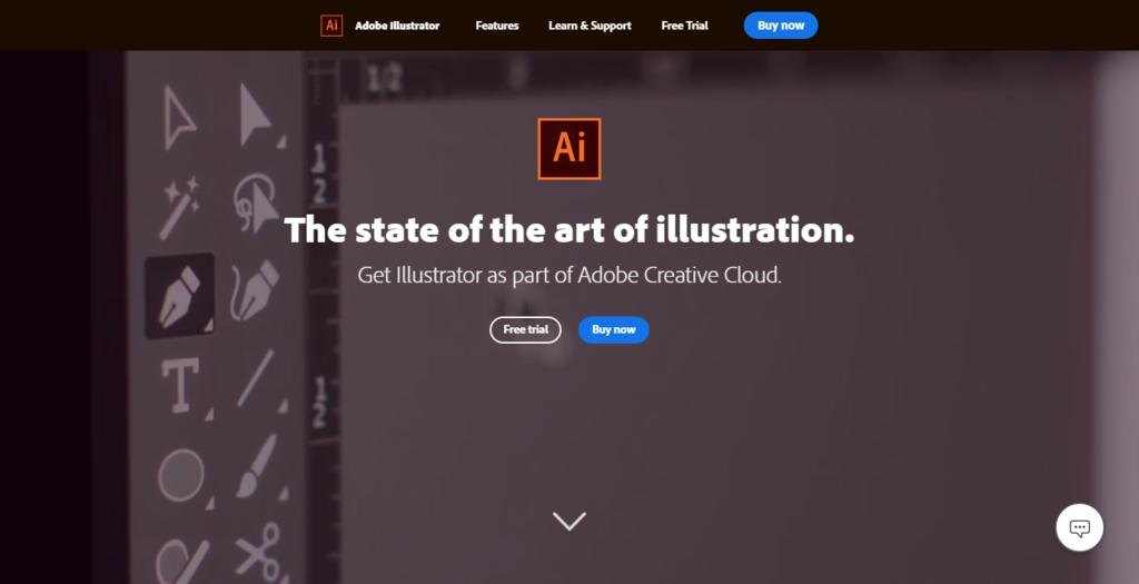 página da ferramenta Adobe Illustrator, essencial para ser designer gráfico ou web designer