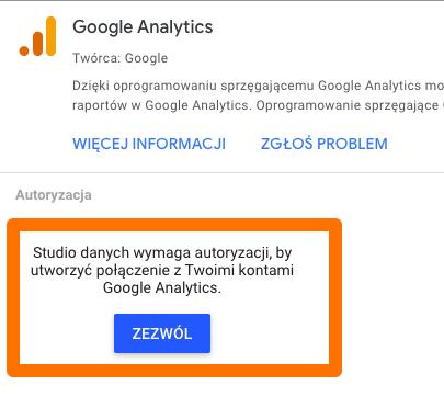 połączenie data studio z google analytics