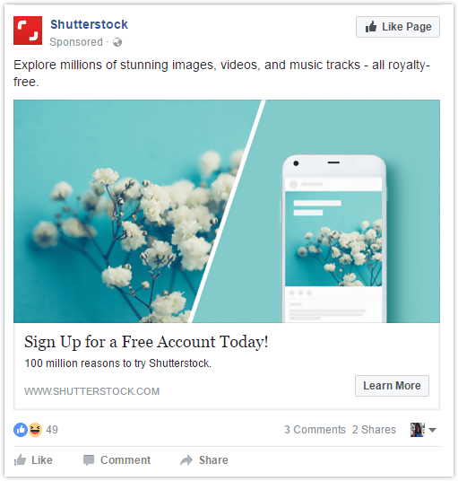 shutter stock Facebook ads