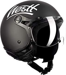 Westt® Classic X · Casco Moto Jet Abierto Estilo Vintage Motocicleta Ciclomotor y Scooter · Cascos de moto Mujer y Hombre en Negro Mate · ECE Homologado